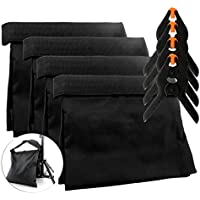 8-Piece Set Photography Sand Bags w/ Clips (4 Bags, 4 Clips); Saddlebag Design Sand Bags for Photo Studio Video Light Stands (Black, 4-Pack)