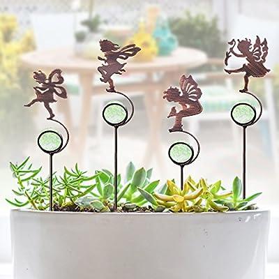 CREATIVE DESIGN Garden Stakes, 4 Pack Fairy Garden Stakes, Metal Mini Garden Stake with Glass Ball for Outdoor Yard, Plant Pots and Garden Décor (13.5'' Height)