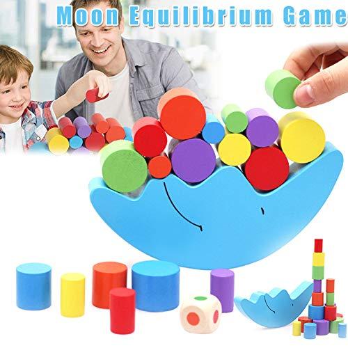 Aslion Moon Equilibrium Game Wooden Stacking Blocks Balancing Game Sorting Toy for Kids