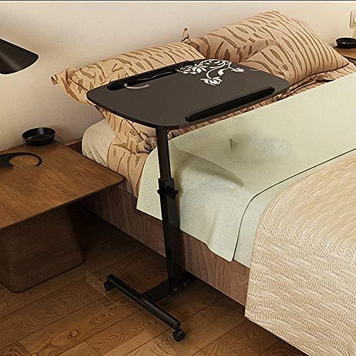 pequena mesita de noche plegable movil elevable giratorio libro de estudio mesa de computadora portatil se puede subir y bajar 60-95cm tamano de escritorio 60x40cm-Flor blanca sobre negro / Mejora