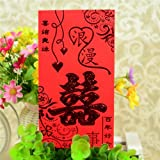 AUCH Chinese Red Envelopes Wedding Money Pocket Party Accessory, Pack of 30 (Double Happiness Pattern), 8.5x16.6cm