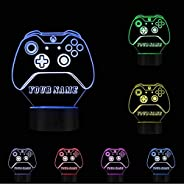 Buzdao Game Controller Night Light Personalized Free Cusom Name Led Night Lamp 7 Color Change Touch Control En