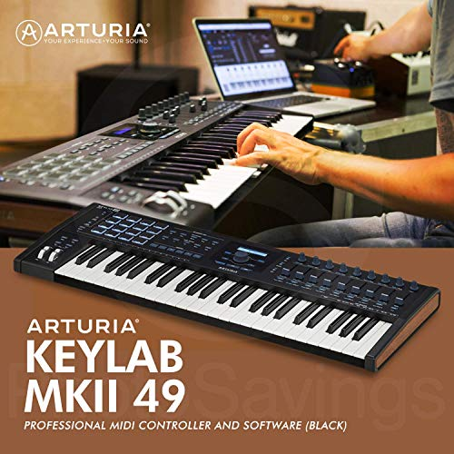 Arturia KeyLab MKII 49 Professional MIDI Keyboard Controller and Software (Black) with Sustain Pedal & Assorted Cables…