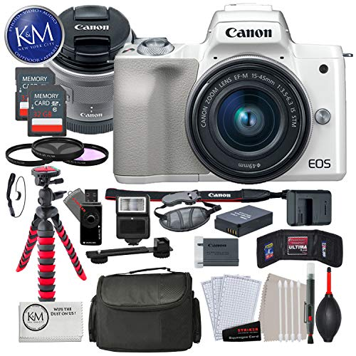 Canon EOS M50 Mirrorless Digital Camera with 15-45mm Lens (White) and Premium Bundle with 12″ Tripod