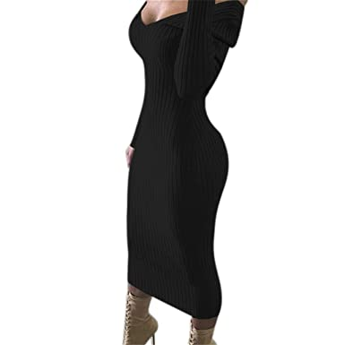 dd73fa97721 Nesee Women s Sexy Off Shoulder Long Sleeve Bodycon Rib Knit Sweater Maxi  Dress Black