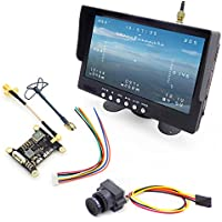USAQ 5.8GHz Long-Range FPV System with 1000TVL HD Camera 7 HD Monitor with Built-In Battery & Speaker, 25/200/600mW Adjustable Transmitter and Circular Polarized Antenna Set