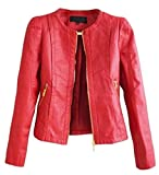Alion Women's Fashion Leather Jacket Coat Slim Red L