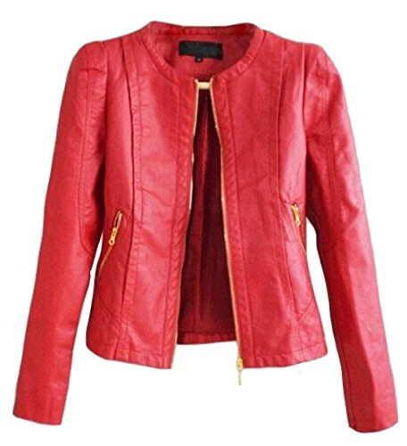 Women Ladies Leather Jacket Coat (Alion Women's Fashion Leather Jacket Coat Slim Red L)
