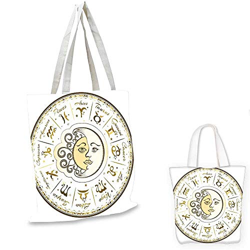 - Zodiac royal shopping bag Circular Zodiac Chart Apparent Position of Sun and Moon in Centre Pattern Print shopping bag for women Yellow Beige. 16