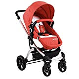SpringBuds MinⅡRIS Anti-Shock Reversible Luxury Baby Stroller 2 in 1 Foldable Pushchair (Persimmon Red) Review