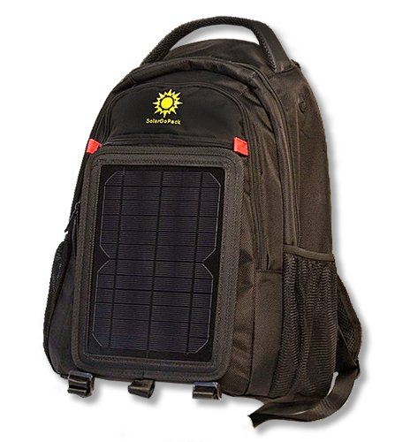 Price comparison product image SolarGoPack solar powered backpack, charge mobile devices, Take Your Power with You, 12k mAh Lithium Ion Battery, 27 liter Ballistic Nylon Bag, Black - Stay Charged my Friends