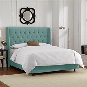 Skyline furniture diamond tufted wingback bed for Diamond bed frame