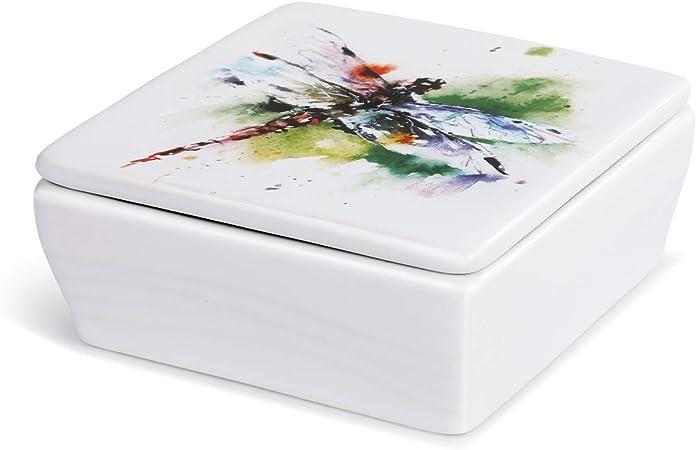 DEMDACO Dean Crouser Kaleidoscope Butterfly Watercolor 4 x 4 Ceramic Stoneware Lidded Vanity Box