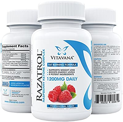 Razatrol Raspberry Ketones Diet Pills with Green Tea Extract, African Mango, Apple Cider Vinegar, Kelp, Acai Berry, Resveratrol, Grapefruit and Caffeine Anhydrous (1200mg :: 60 Capsules)