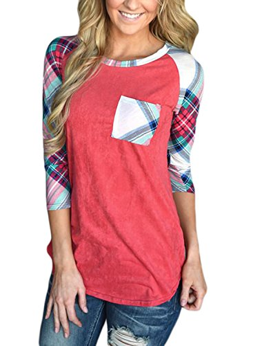 Podlily Woman Plaid Raglan Casual Round Neck Blouses 3/4 Sleeve Pocket Tops Medium Red by Podlily