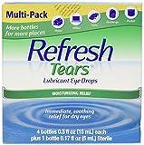 Refresh Tears Lubricant Eye Drops (Four Bottles, 15ml Each and One 5ml Bottle)