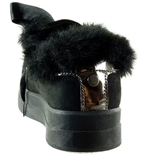 Talon 3 Fourrure 5 Cm Baskets Chaussure Noir Angkorly Lacet Femme Ruban Plat Mode Satin vRqnTf