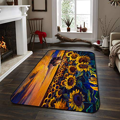 Fantasy Star Non-Slip Area Rugs Room Mat- Sunflower