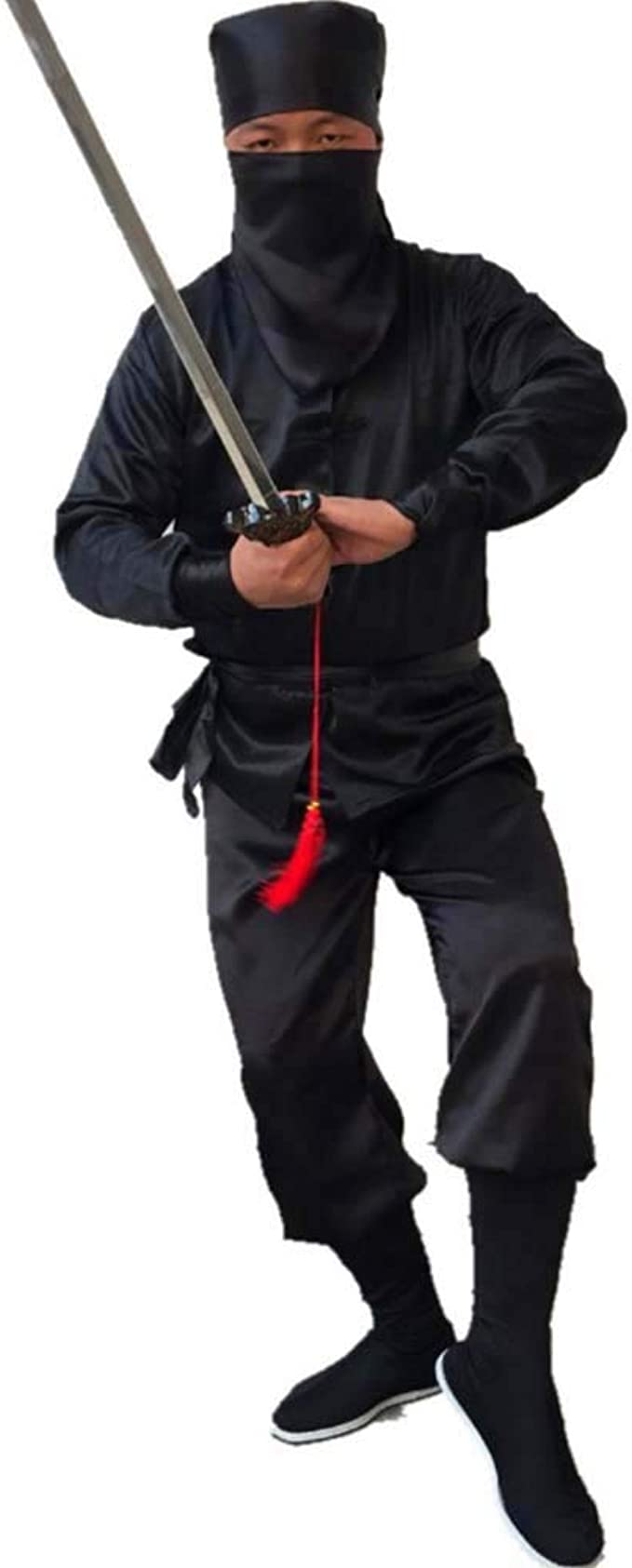 Stealth Ninja Costume Unisex Traditional Chinese Tang Suit Kung Fu Uniform Masked Samura Warrior Fancy Dress