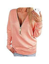 Women Autumn Deep V Zipper Long Batwing Sleeve Blouse Pullover Hoody Shirt Tops