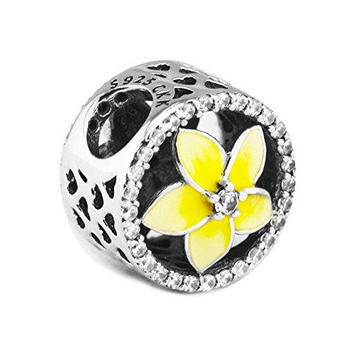 CKK DIY Fit Pandora Bracelet Pale Yellow Floral Charm 925 Sterling Silver Jewelry Making Flower Bracelet ()