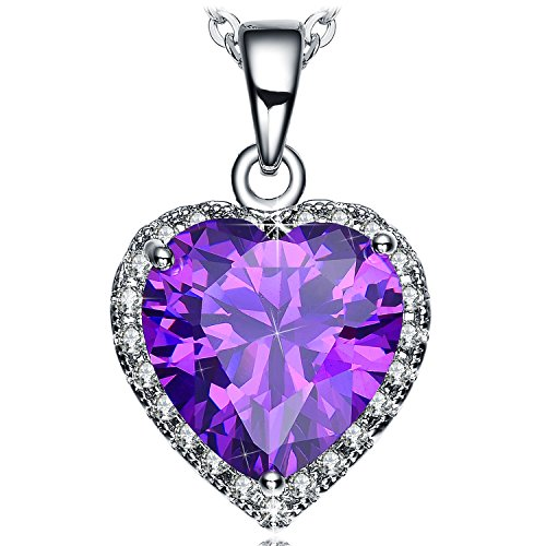 Gifts for Women Purple Heart Pendant Necklace Zirconia Fashion Jewelry for Her Girlfriend Birthday Anniversary Valentines Mothers Day White Gold Plated