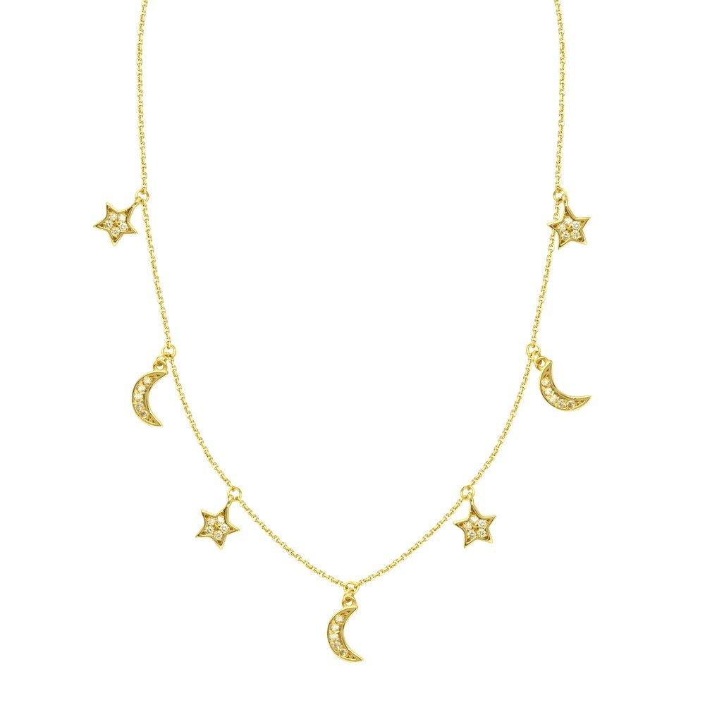 14 ct Gelb Gold Diamant 0,16 DWT abwechselnd Star und Half Moon verstellbar Halskette – 46 Zentimeter