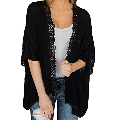 Women Cardigan Casual Solid 1/2 Sleeve Loose Lace Crochet Open Front Kimono Coat (XL, Black)