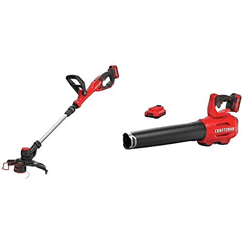 CRAFTSMAN CMCST900D1 V20 Cordless WEEDWACKER String Trimmer Edger – Automatic Line Advance Feed with CMCBL720D2 V20 Handheld Blower