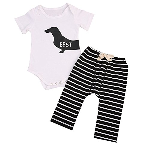 2Pcs Infant Baby Girl Boy Twins Best Friend Short Sleeve Romper+Striped Pants Outfit (0-6 Months, Best)