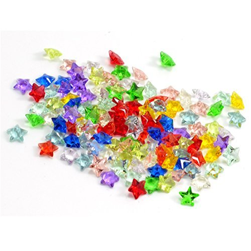 Star Charms Acrylic (Colors Varied 120pcs Mixed Random Acrylic Crystal Star Charms for Glass Living Memory Lockets)