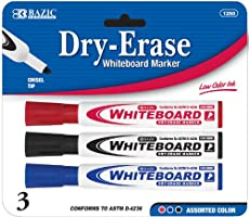 BAZIC Assorted Color Chisel Tip Dry-Erase Markers (3/Pack) Case Pack 144 Computer, Electronics