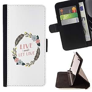 Momo Phone Case / Flip Funda de Cuero Case Cover - Guirnalda del Live And Let Pluma Blanca Limpia - Huawei Ascend P8 (Not for P8 Lite)