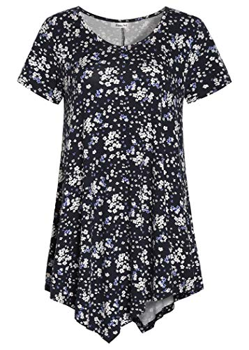 Esenchel Women's V-Neck Swing Shirt Casual Tunic Top for Leggings 4X Navy Floral ()