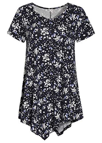 Esenchel Women's V-Neck Swing Shirt Casual Tunic Top for Leggings 4X Navy Floral ()