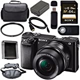 Sony ILCE6000L/B Alpha a6000 Mirrorless Digital Camera with 16-50mm Lens (Black) + NP-FW50 Lithium Ion Battery + Sony 64GB SDXC Card + HDMI Cable + Carrying Case + Remote + Memory Card Wallet Bundle