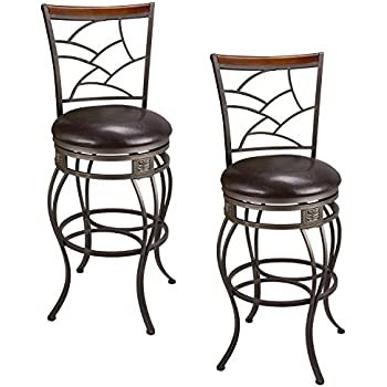 Amazon Com Acme 96045 Set Of 2 Tavio Swivel Bar Chair 29