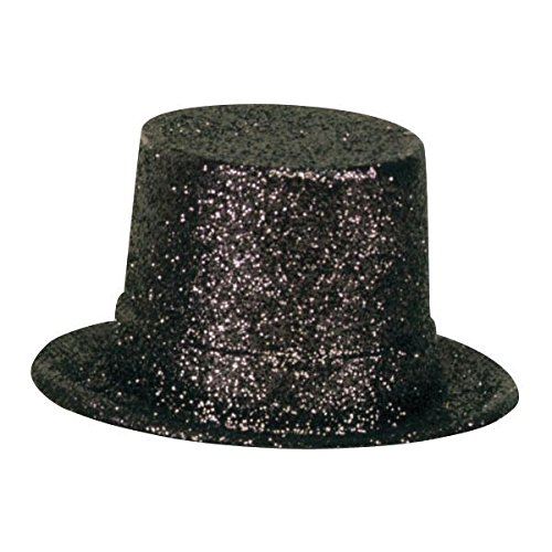 Top Glitter Hat Black (Amscan Glamorous 20s Old Hollywood Glitter Top Hat, Black, 10.5