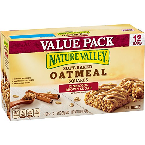 - Nature Valley Soft-Baked Oatmeal Squares, Cinnamon Brown Sugar, 12 Bars - 1.2 oz (Pack of 6)