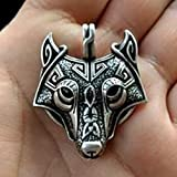 Retro Mens Wolf Animal Head Pendant Stainless Steel Necklace Chain Gift U87#by pimchanok shop
