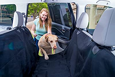 SMART SKIPPY Deluxe Pet Seat Cover for Cars, Trucks and SUV's - (Universal Size) Dog Car Seat Cover for Pets, Hammock Convertible, Protects Car Seats, Non-Slip, WaterProof