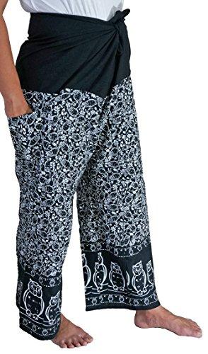 Artiwa Cotton Plus Size Mens Womens Fisherman Pants Yoga Pants Casual with Owls Pattern Black