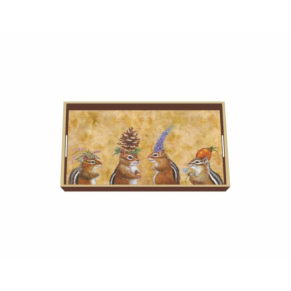 Paperproducts Design Wooden Vanity Tray Displaying Chipmunk Social Design, 12.25 x 7 x 1.5'', Multicolor