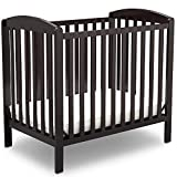 Delta Children Emery Mini Convertible Baby Crib with Mattress, Dark Chocolate