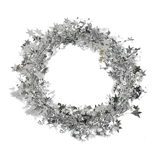 Lacheln Star Garland Decoration Tinsel Wreath for Christmas Tree Decor,2 Sets,49 Feet Total,Glitter Silver