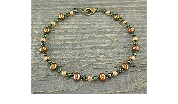 Small to Plus Size Copper-Bronze Pearl Anklet or Bracelet with Bohemian Glass