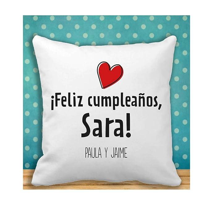 Calledelregalo Regalo de cumpleaños Personalizable para Mujer: Cojín con un corazón y Personalizado dedicatoria, Nombre y Firma.