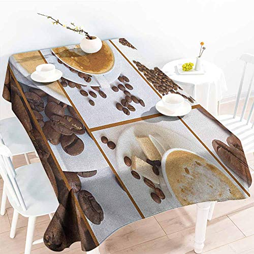 EwaskyOnline Fashions Rectangular Table Cloth,Kitchen Coffee Themed Collage of Beans Mugs Hot Foamy Drink with a Heart Macro Aroma Photo,Modern Minimalist,W54x72L, Brown White