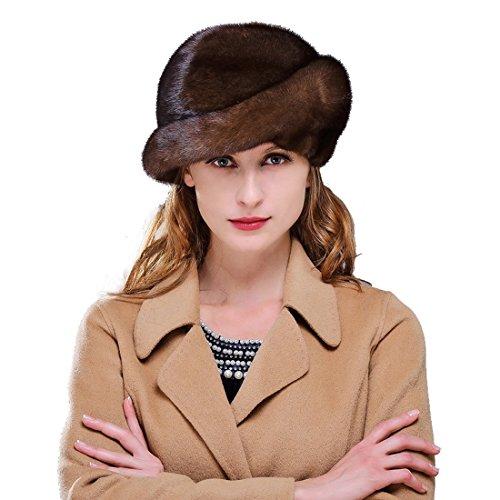 URSFUR Ladie's Mink Fur Beret Hats (Brown) by URSFUR