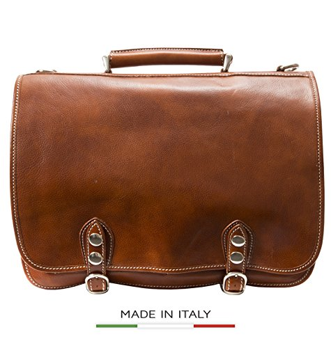 Alberto Bellucci Men's Italian Leather Double Compartment Laptop Messenger Bag, Honey, One Size by Alberto Bellucci
